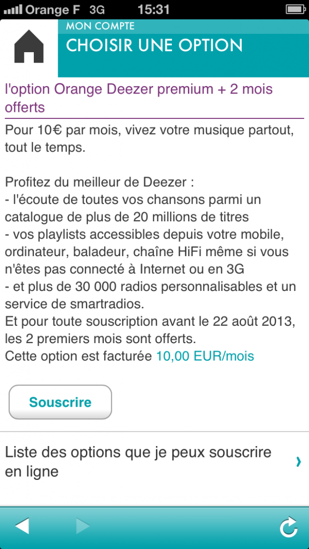 Option Deezer+ sur l'application MySosh
